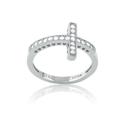 w-9647 ss horizontal cross cz ring- $42